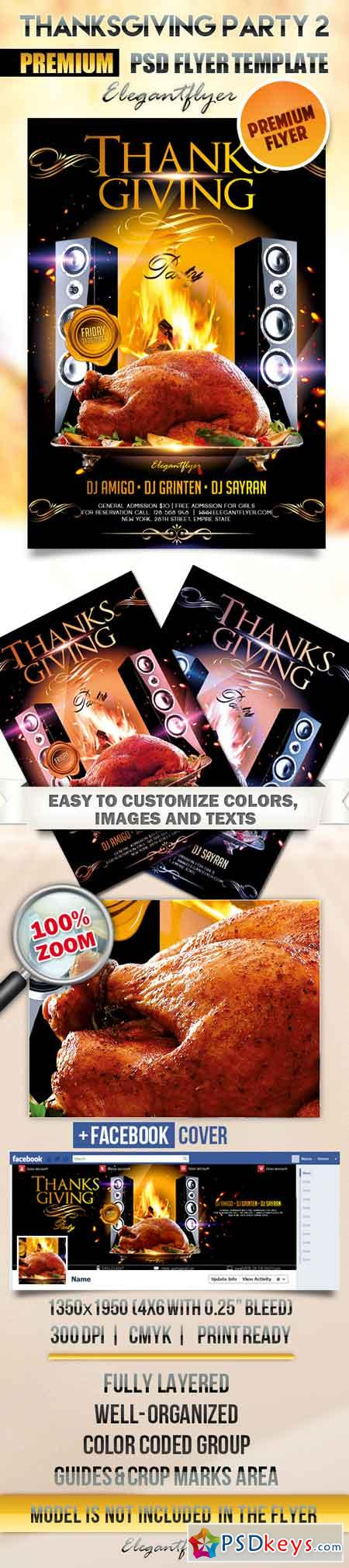 Thanksgiving Party 2 – Flyer PSD Template + Facebook Cover