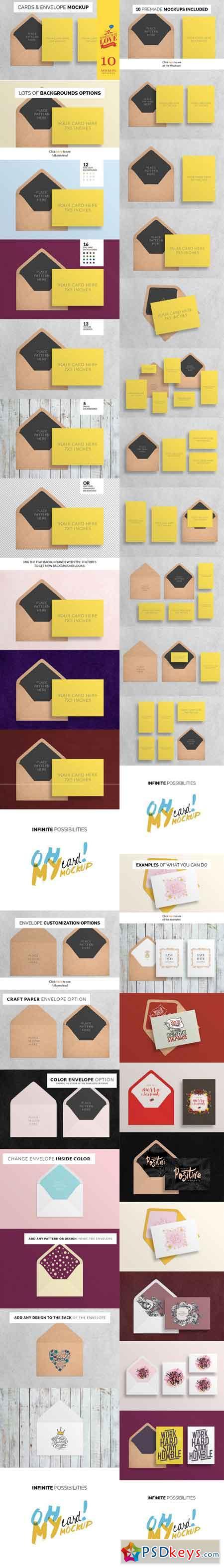 OhMyCard Mockup - Cards & Envelope 420047
