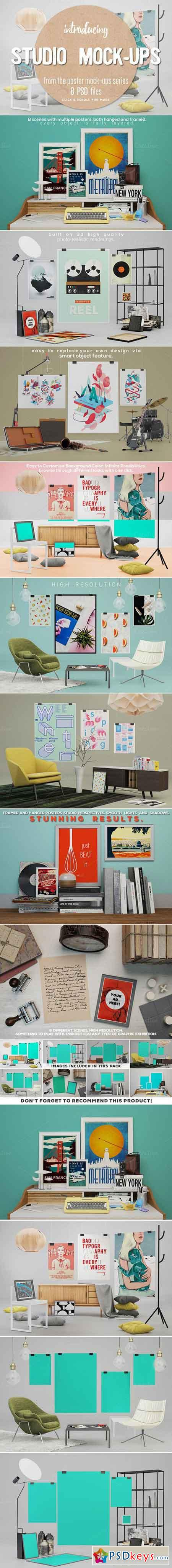 8 Studio Poster Mock-ups 418350