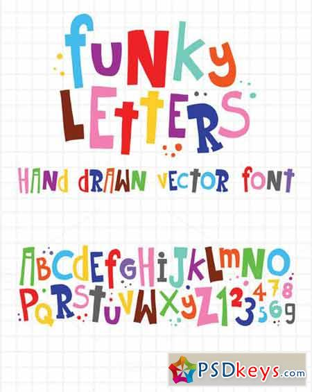 Funky letters and numbers vector set 52099