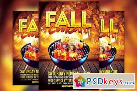 Fall Cookout Flyer Template 313806
