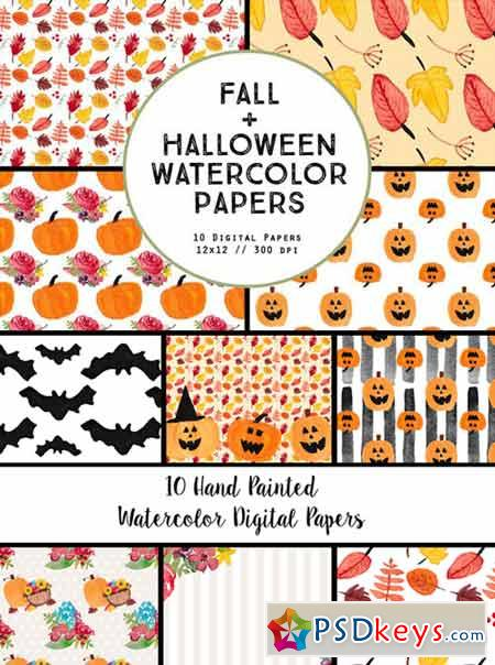 Watercolor Fall Halloween Papers 360237