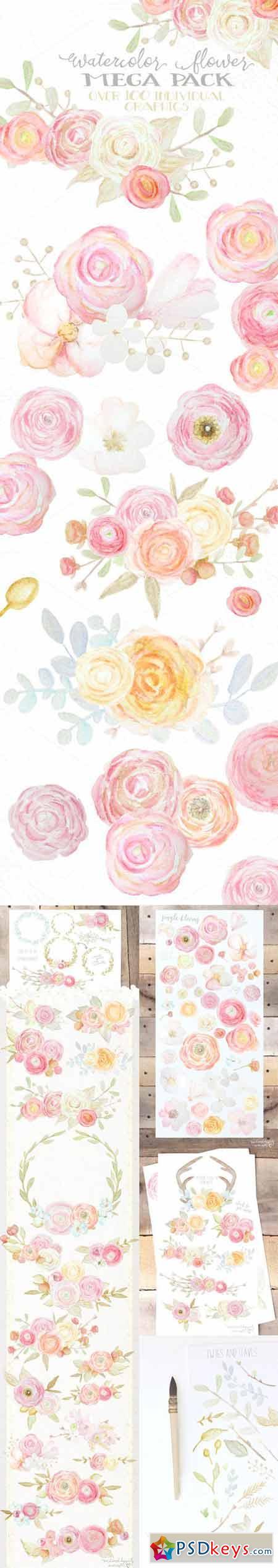 Watercolor Flowers Mega Pack 236718