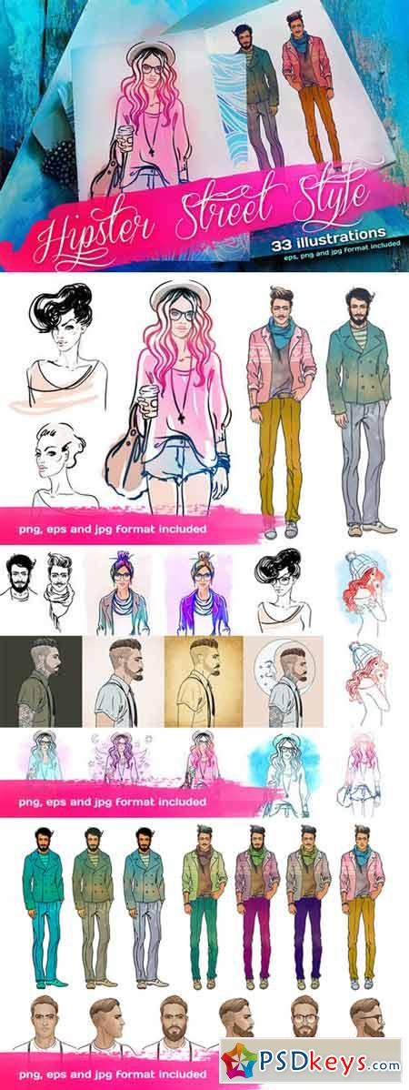 Hipster Street Style Illustrations 130036