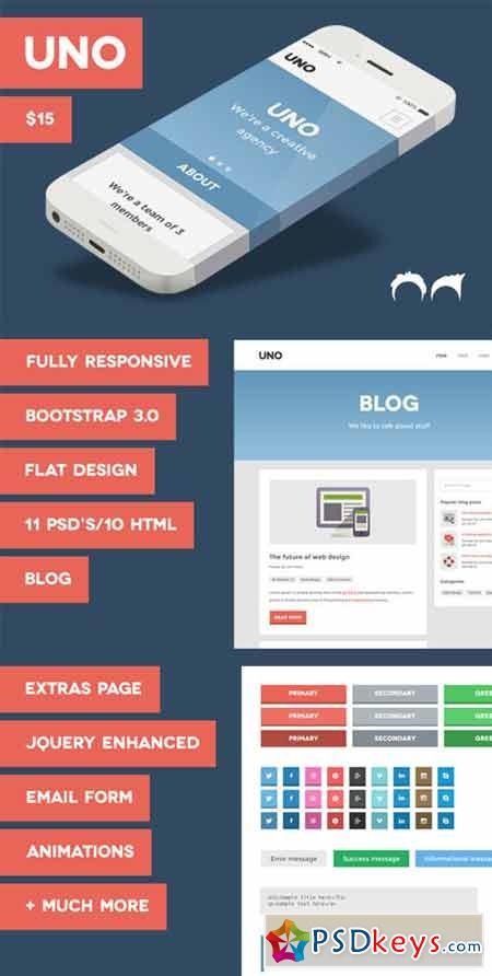 Uno Flat Responsive HTML Theme 13690
