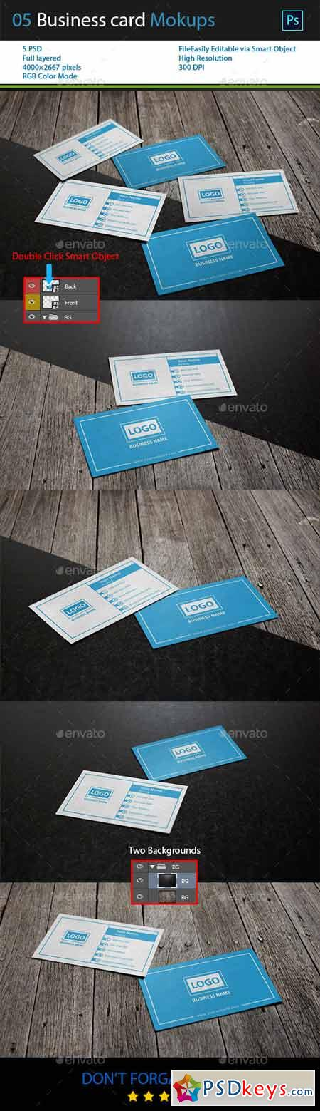 05 business Card Mockups with 2 Backgrounds 13446333