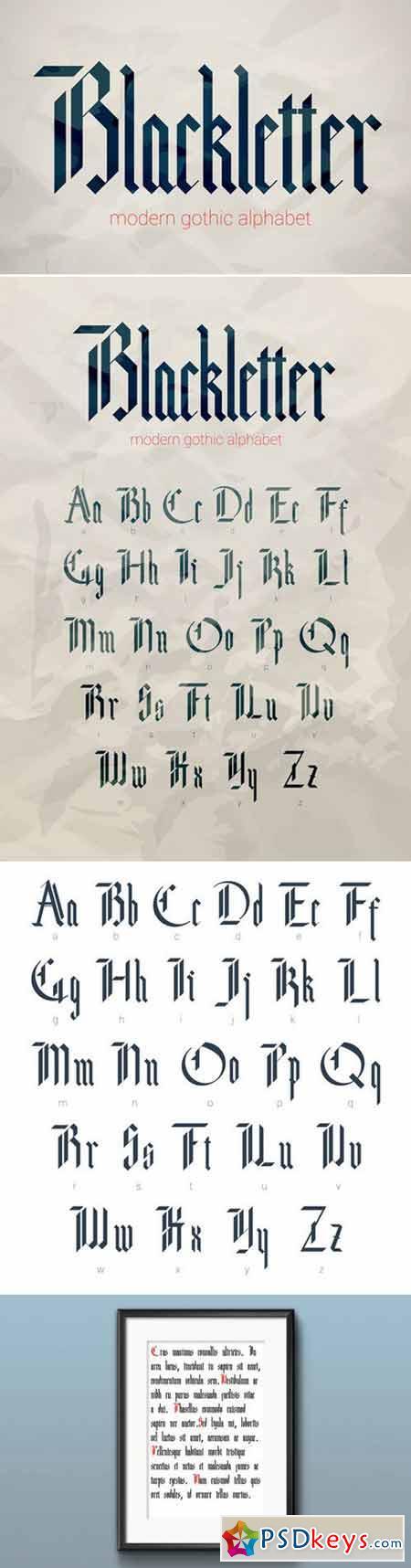 Blackletter modern gothic font. 425205