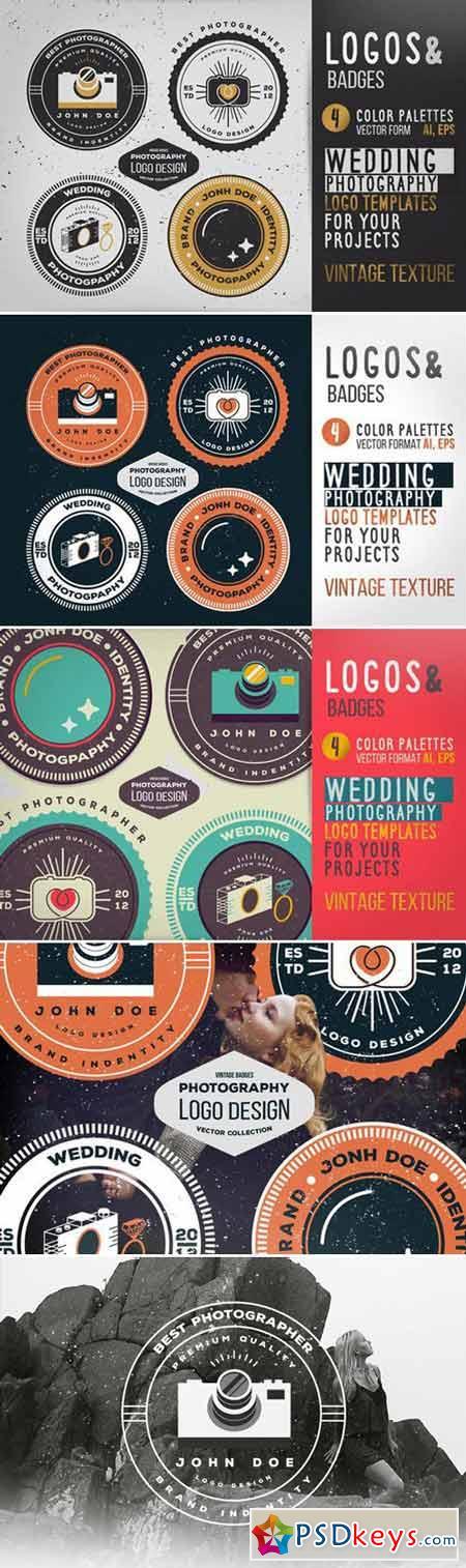 Vintage Wedding Photography Logo Set 424465