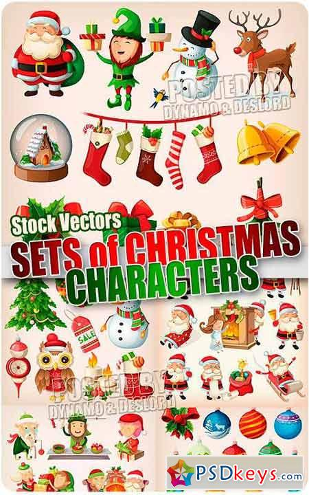 Sets of christmas characters - Stock Vectors