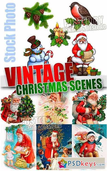 Vintage Christmas Scenes - UHQ Stock Illustrations