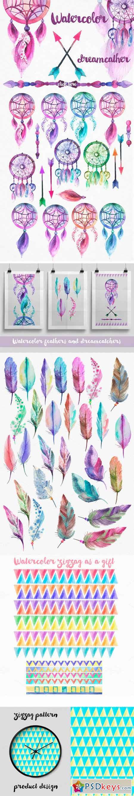 Watercolor Feathers & Dreamcatchers 295661