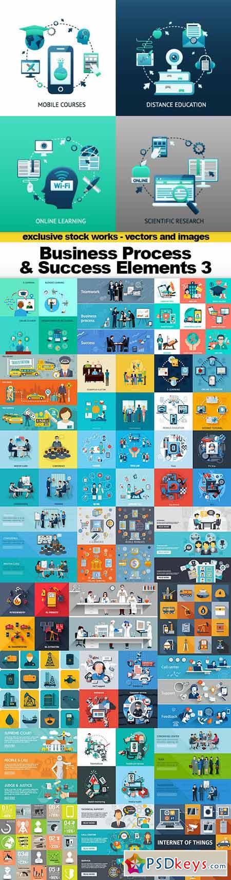 Business Process & Success Elements 3 - Flat Collection, 25x EPS