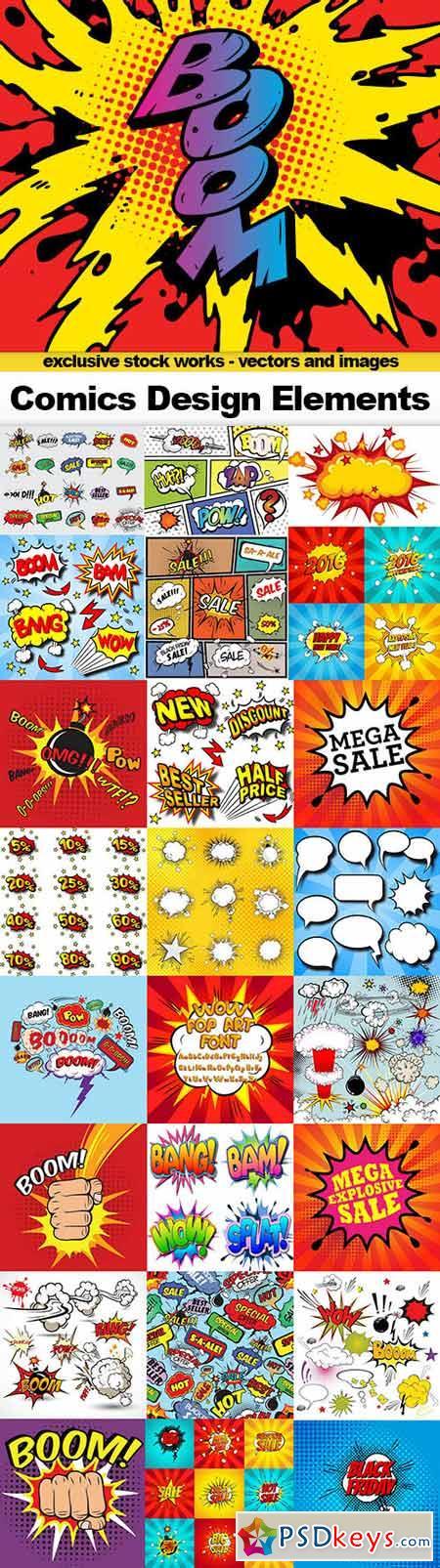 Comics Design Elements, 25x EPS