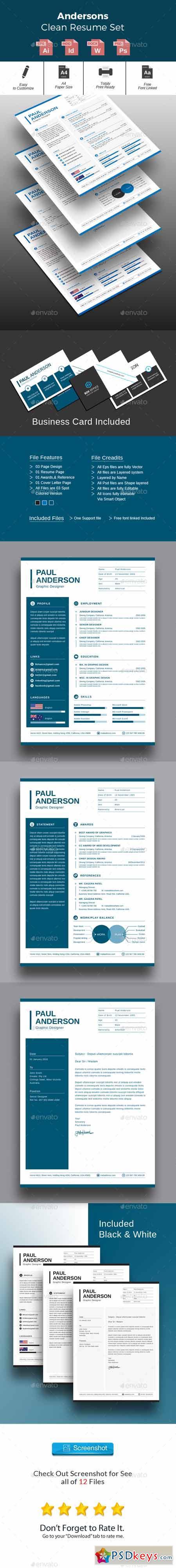 Andersons Clean Resume Set 13307738