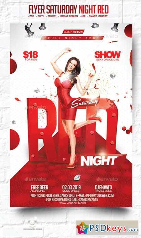 Flyer Saturday Night Red 10306802