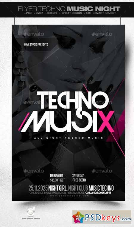 flyer techno music night 8928984  u00bb free download photoshop
