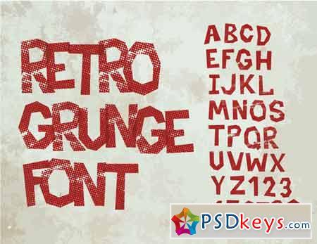 Retro type grunge font 409036