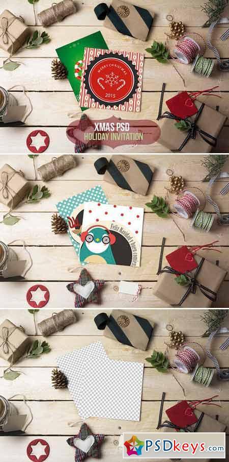 Xmas-Holiday invitation PSD mockup 423647