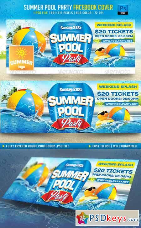 Summer Pool Party Facebook Cover 8006029