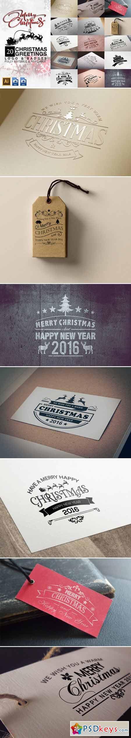 Christmas Greetings Logo & Badges V2 424327