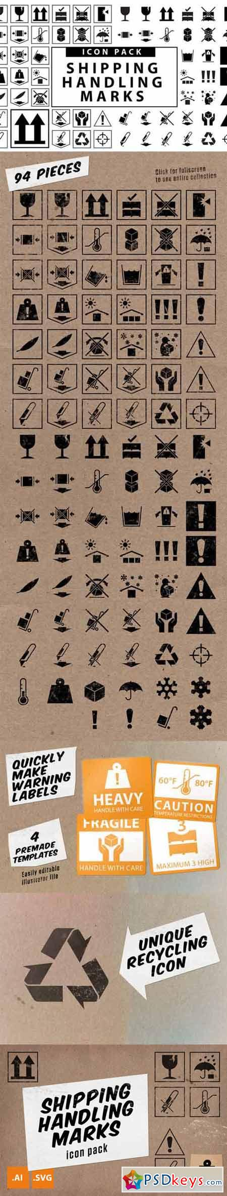 Travel Wise Shipping Labels Icon Set 127666