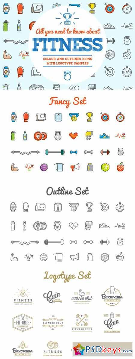 Awesome Fitness Icons and Logo Set 194542