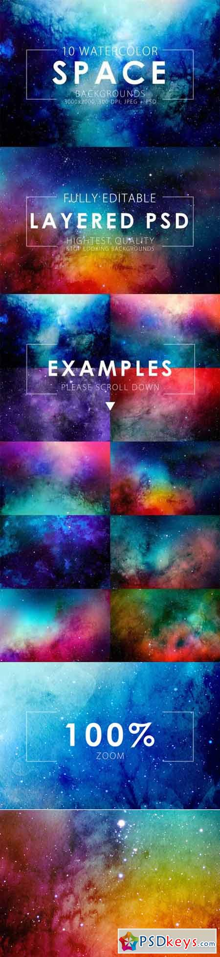 Space Watercolor Backgrounds 325464