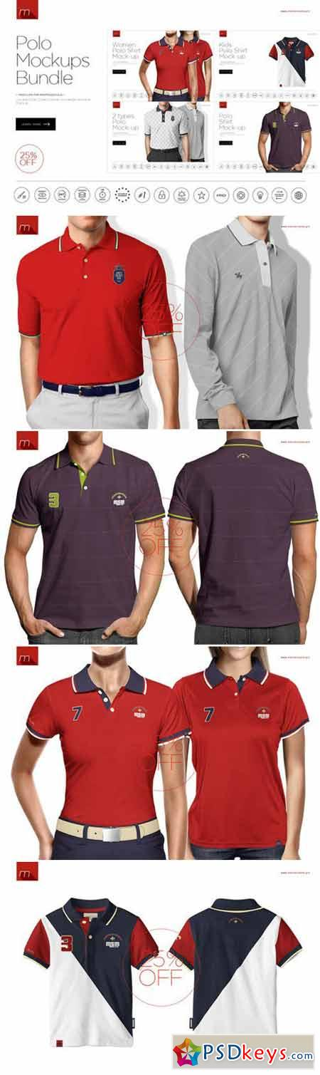 Polo Shirt Mock-ups Bundle 4in1 426485