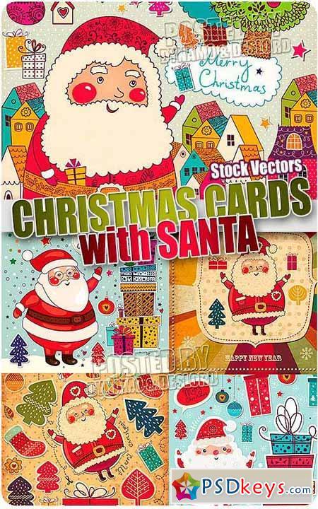 Santa xmas cards - Stock Vectors