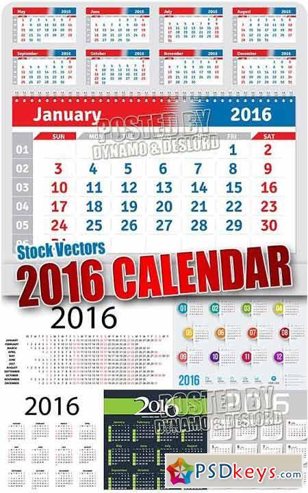 2016 calendars - Stock Vectors