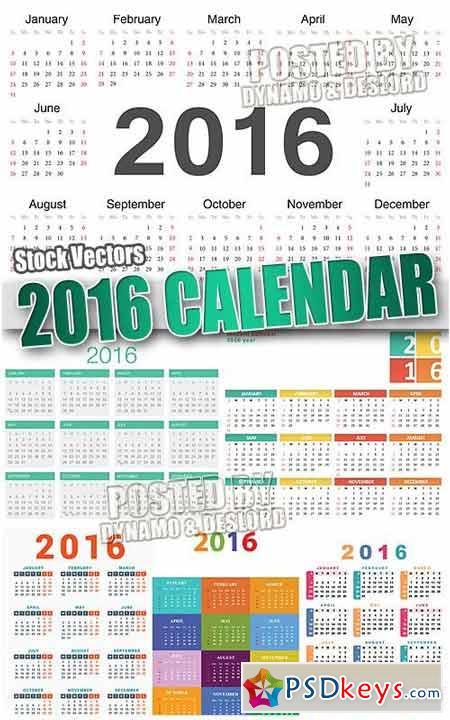 2016 calendars 2 - Stock Vectors