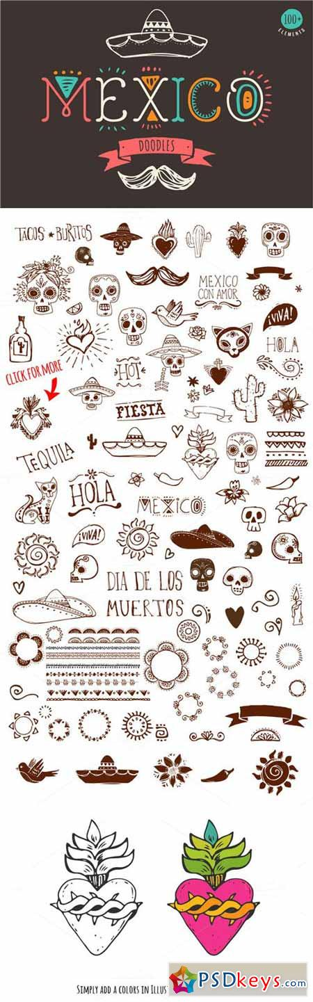 Mexican Hand Drawn Doodles Set 334017