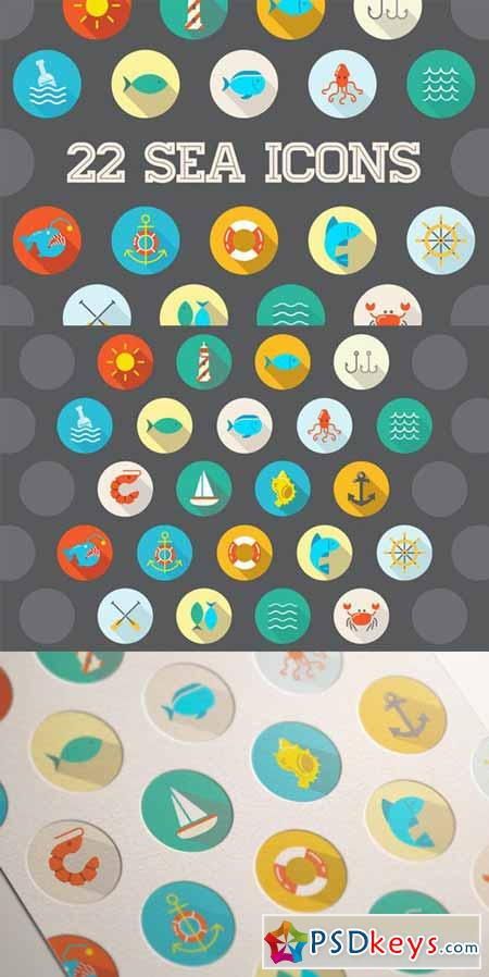 Awesome 22 Flat Vector Sea Icons 201303