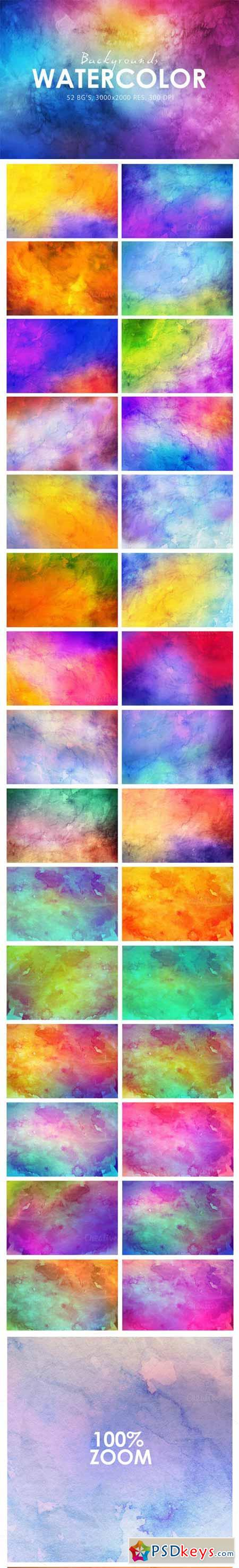 52 Watercolor Backgrounds 324748