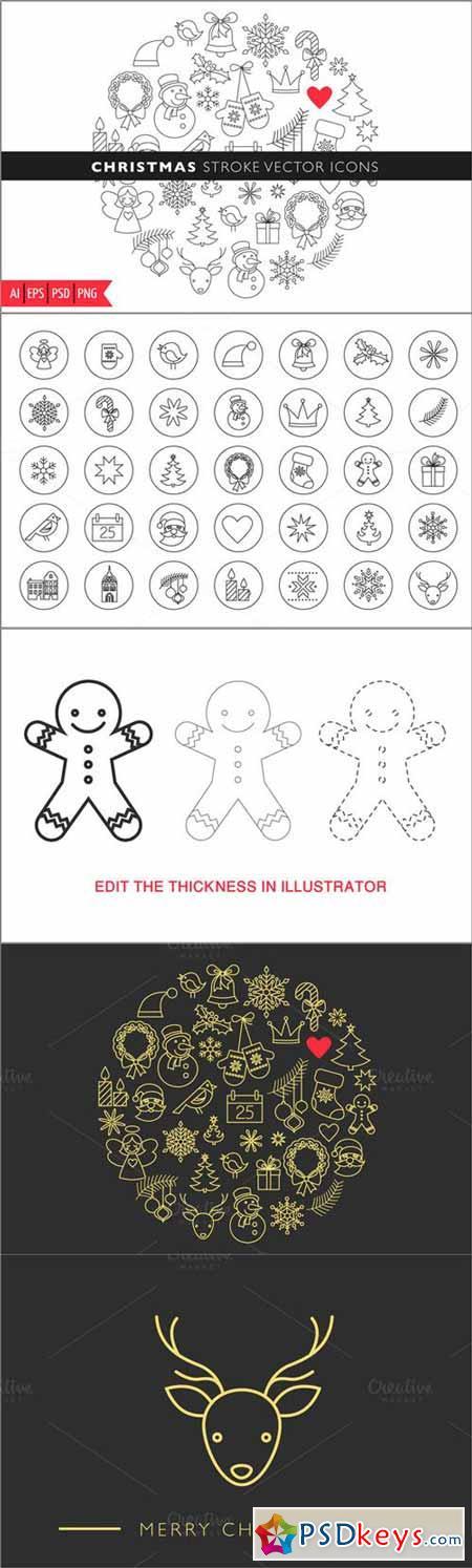 Christmas Stroke Icons set 78930