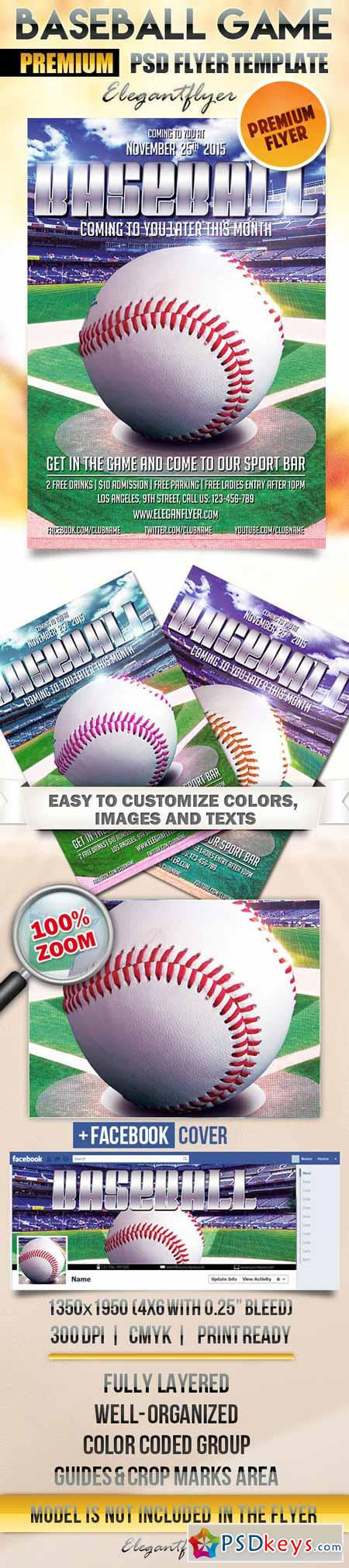 baseball game flyer psd template facebook cover free download photoshop vector stock image. Black Bedroom Furniture Sets. Home Design Ideas