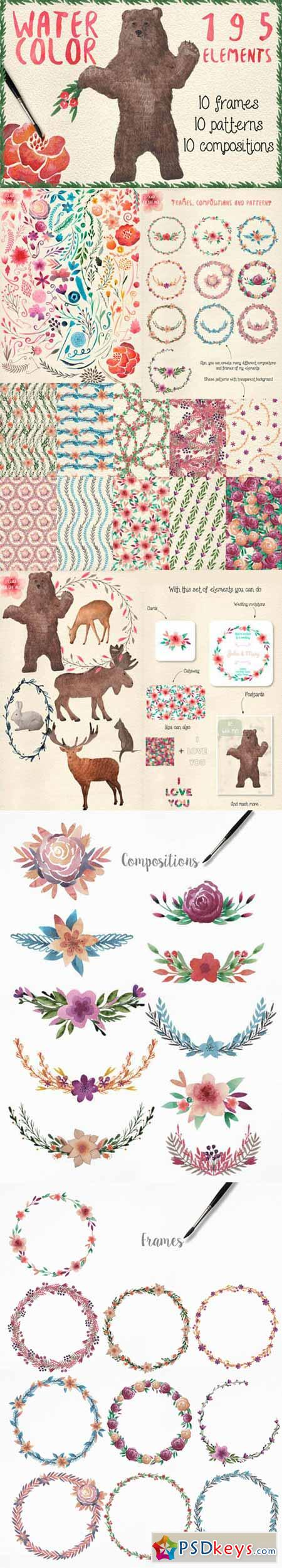 Watercolor frames, patterns, animals 161500