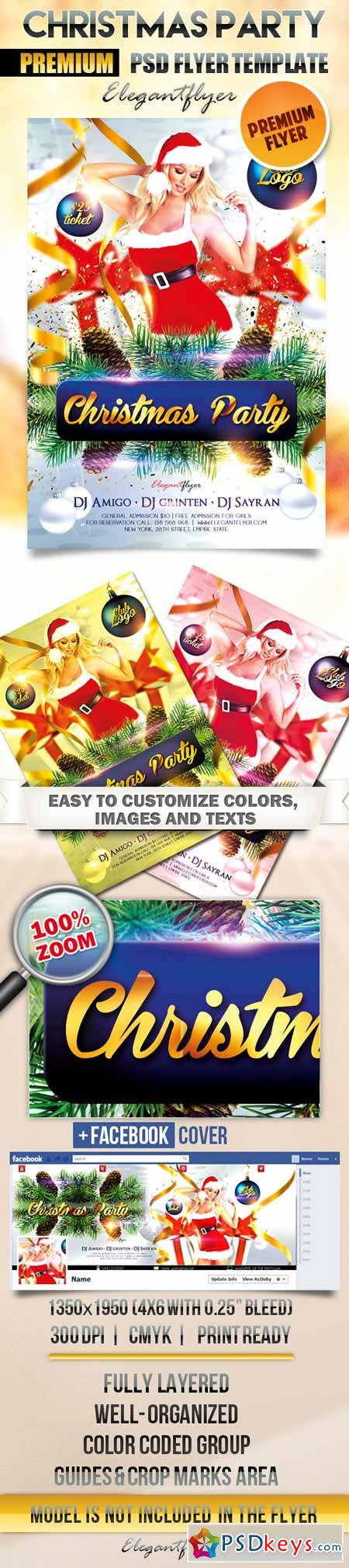 Christmas Party – Flyer PSD Template + Facebook Cover 2