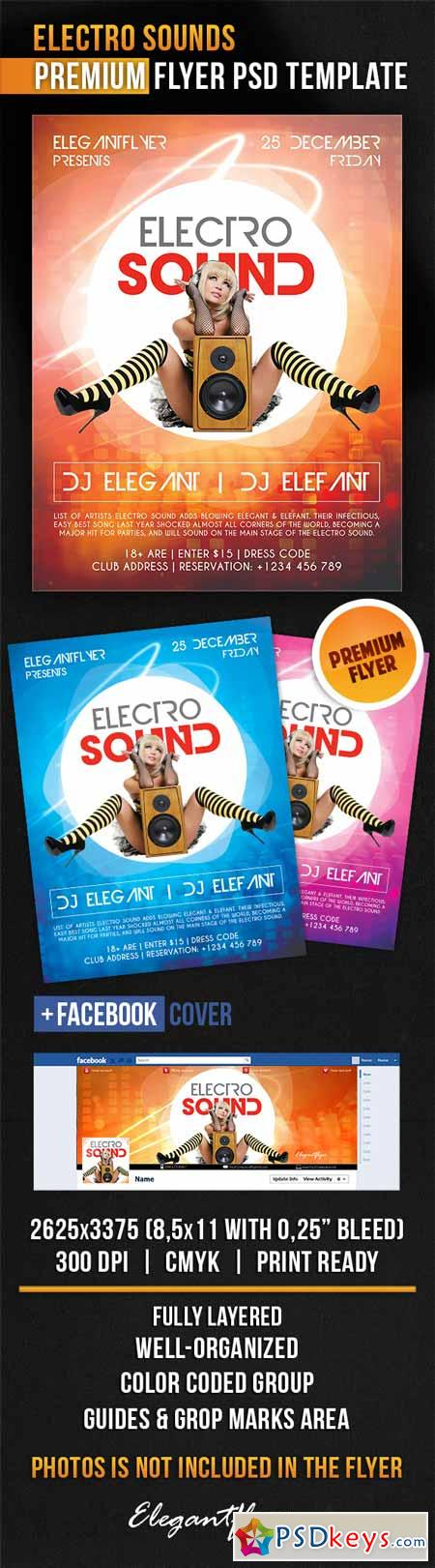 Electro Sounds – Flyer PSD Template + Facebook Cover