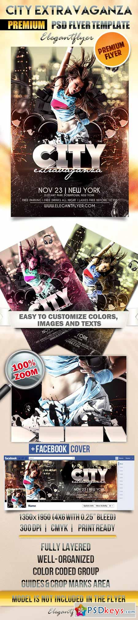 City Extravaganza – Flyer PSD Template + Facebook Cover