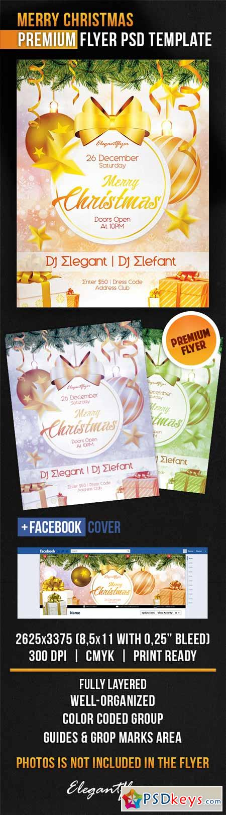 Merry Christmas – Flyer PSD Template + Facebook Cover 3