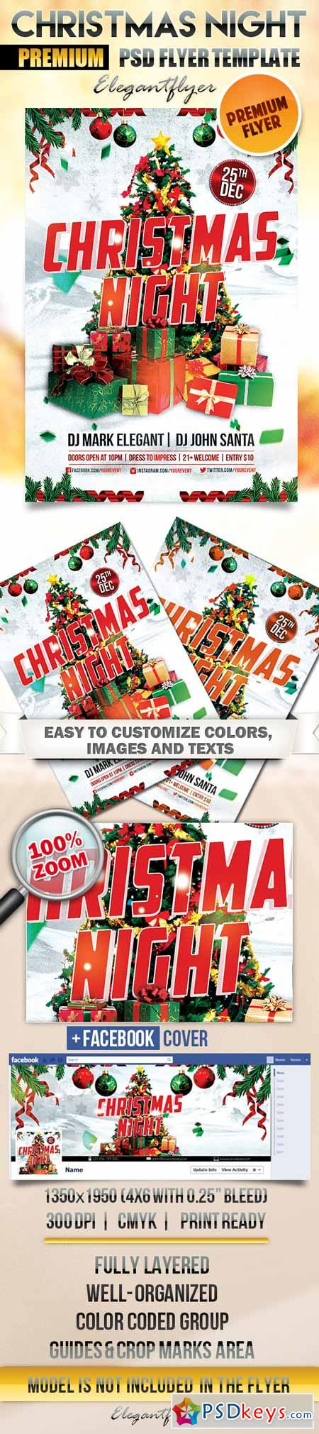 Christmas Night – Flyer PSD Template + Facebook Cover