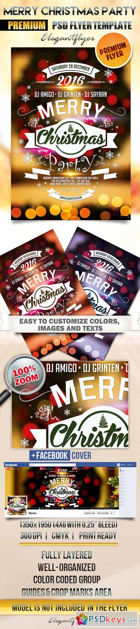 Merry Christmas Party – Flyer PSD Template + Facebook Cover