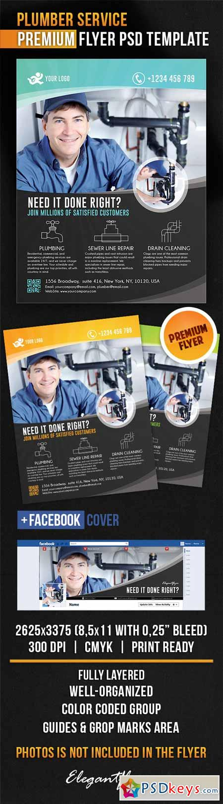 Plumber Service – Flyer PSD Template + Facebook Cover