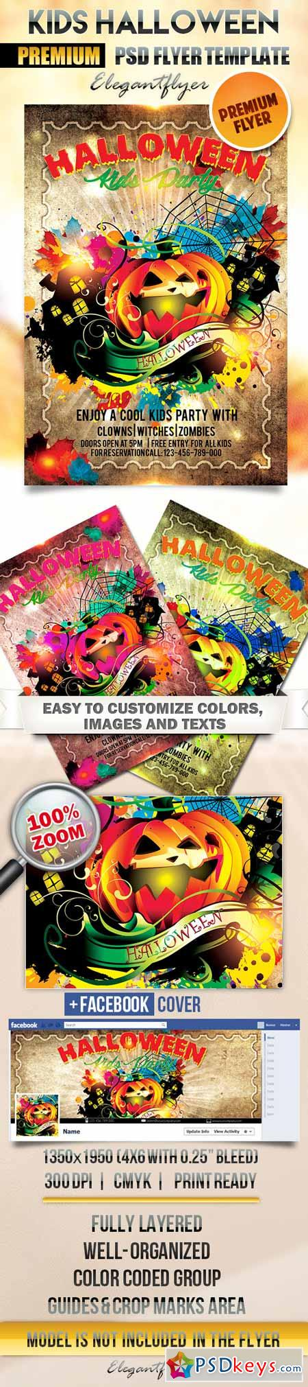 Kids Halloween Party – Flyer PSD Template + Facebook Cover » Free ...