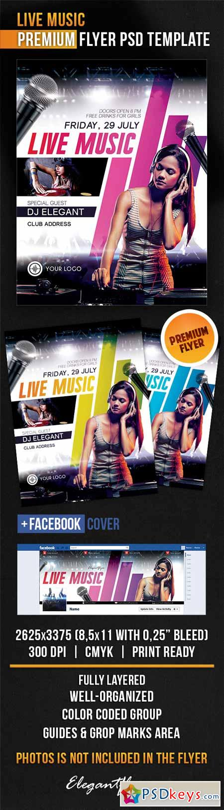Live Music - Flyer PSD Template + Facebook Cover 2 » Free ...