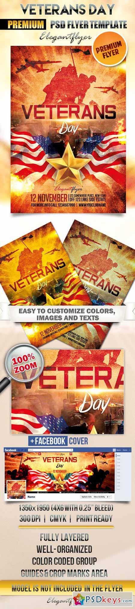 Veterans Day – Flyer PSD Template + Facebook Cover