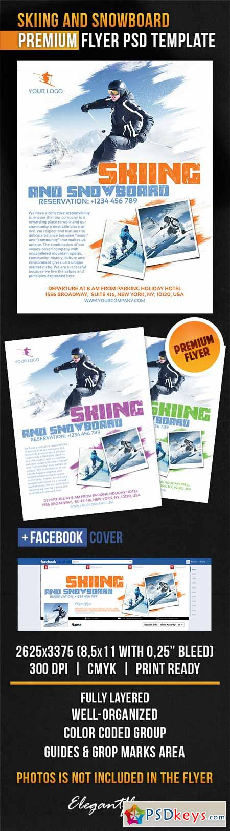 Skiing And Snowboard – Flyer PSD Template + Facebook Cover