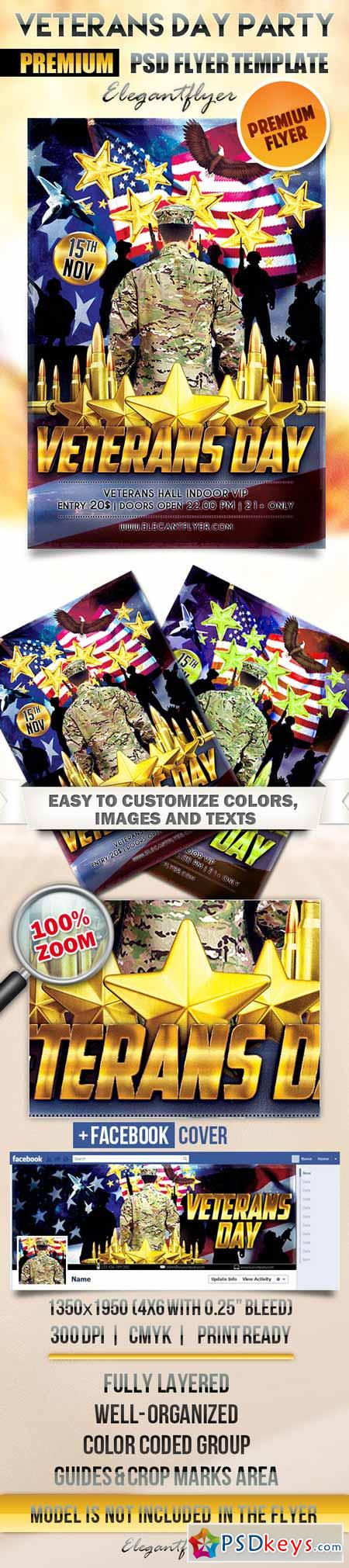 Veterans Day Party – Flyer PSD Template + Facebook Cover