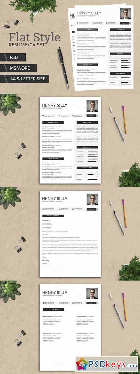 flat style resume cv